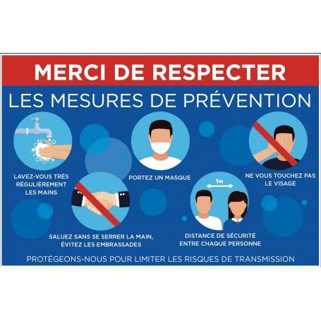 Pancartes « Merci de respecter les mesures de prévention »