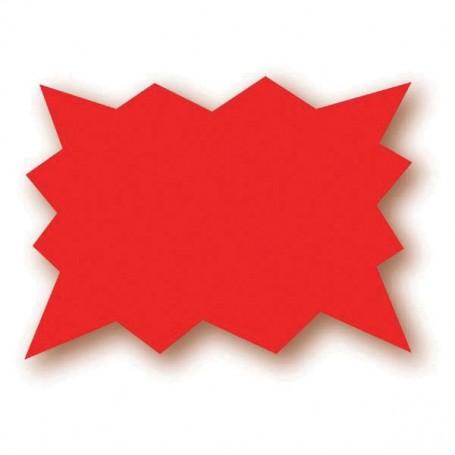 Paquet de 50 étiquettes rouge fluo - 10x8 cm - forme éclatée