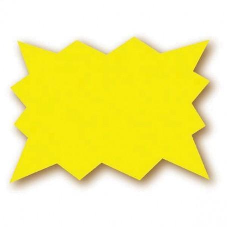Paquet de 25 étiquettes jaune fluo - 15x10 cm - forme éclatée