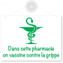 Panneau PVC blanc « On vaccine contre la grippe » 20x15 cm