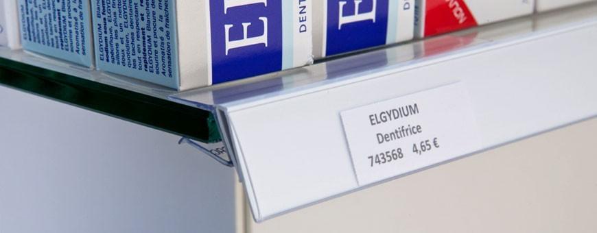 Porte-étiquettes pour étagère verre