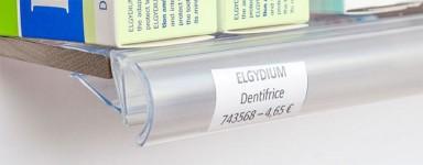 Porte-étiquettes pour étagère bois et/ou métal